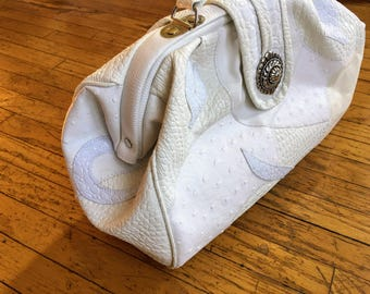 Large ELKA White Leather Doctor Bag, Vintage 80's Handbag, Excellent Condition