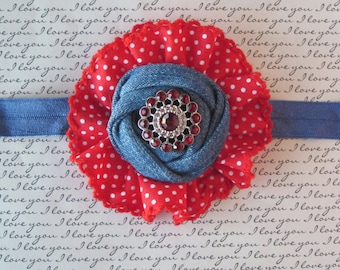 Red and Blue Ruffled Headband, Baby Headband, Newborn Headband,Toddler Headband, Girls Headband, Womans Accessories, Photo Prop!
