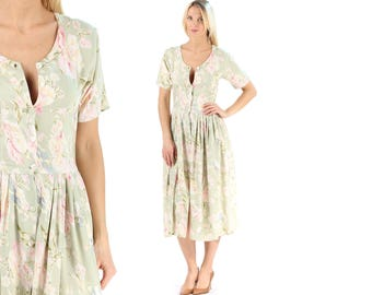 90s Floral Midi Dress Vintage Button Up Soft Cotton Dress Boho Summer Dress Pleated Retro 90s Dress Flower Print Cute Sundress . Small