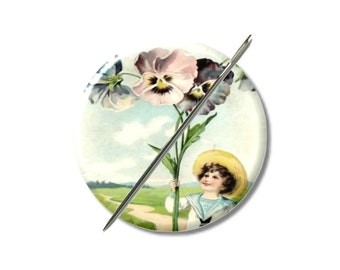Boy flowers vintage art needle minder magnet counted cross stitch sewing tool sewing notion wife gift under 10 stocking stuffer embroidery