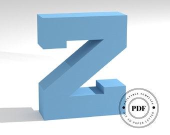 Printable DIY template (PDF).  Letter Z low poly paper model template. 3D paper lettering. Origami. Papercraft. Cardboard alphabet.