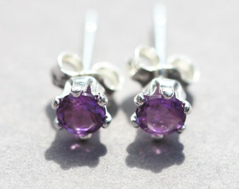 Amethyst and sterling silver stud earrings, February birthstone
