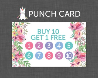 Punch Card | Floral, Punch Card | Buy 10 Get 1 Free | Reward Card | Instant Download