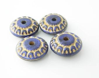 set 4 (l282) x 17mm purple rondelle bead