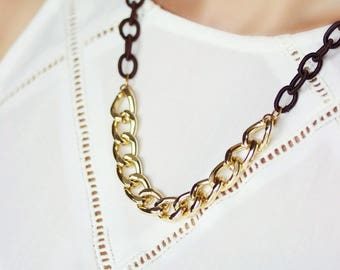 Chain Necklace, Textile and Metal Chain Necklace, Brown Gold Necklace, Chunky Necklace, Elegant Chain Necklace