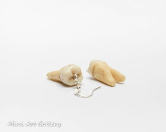 Tooth earring / human teeth replica SINGLE EARRING / realistic decayed fake molar tooth jewelry scary macabre oddity jewelry / polymer clay