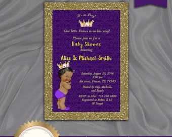 Prince Baby Shower Invitation, Little Prince, Royal Baby Boy Invitation, African American, Purple, Gold - Printable, Digital file, BS08