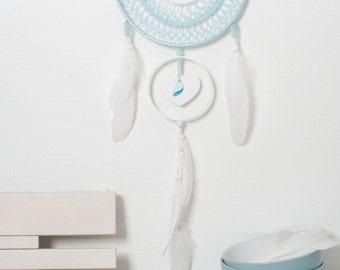 Large Blue White Dream Catcher Handmade Crochet Doily Dreamcatcher white feathers boho dreamcatchers wall hanging wall decor wedding decor