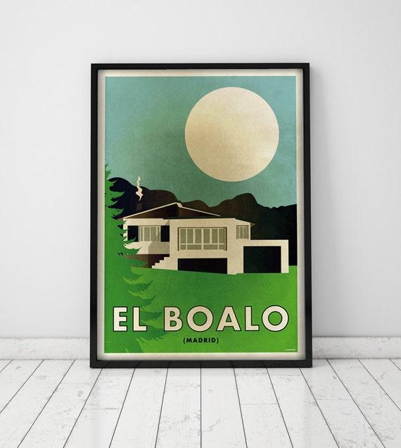 El Boalo. Madrid.  Spain. Country house. Wall decor art. Poster. Illustration. Digital print. City. Travel. 19,69 x 27,56 inch