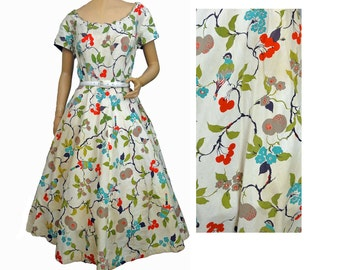 Vintage 50s Dress Birds and Cherry Novelty Print Cotton Bow in Back Rhinestone Trim Fit and Flare Full Skirt