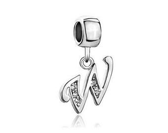 Initial W Charm, Letter W Bead, Bracelet Charm Beads, European Charms, Large Hole Bead, European Bracelet Charm, Charm Bracelet Bead