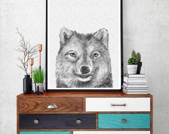 wolf print, woodlands animal print, nursery animal wall art, kids printable, woodlands wolf, black and white nursery decor,nursery Printable