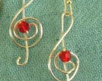 Treble Clef Earrings, Handmade, Silver Wire