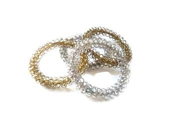 Gold and Silver Tone Metal Bangle Bracelet Set