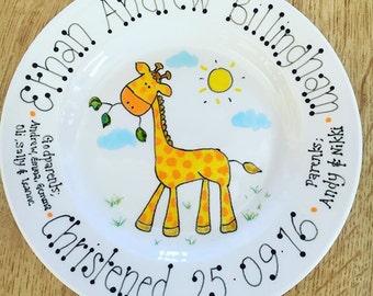 Personalised Unique Gift Plate handmade Christening baptism Wedding Baby, Birthday Gift