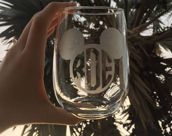 Etched Mouse Head with Monogram Stemless Wine Glass