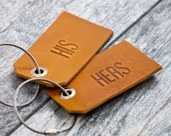 His and Hers Leather Luggage Tags Set of 2