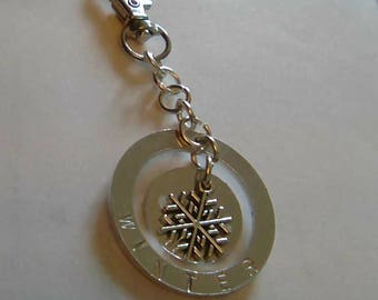 Snow flake keyring