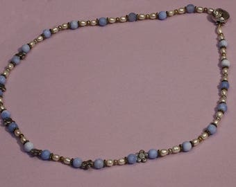 Blue Agate and Pearl Necklace