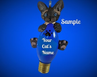 Siamese Kitty Cat Christmas Holidays Light Bulb Ornament Sally's Bits of Clay PERSONALIZED FREE with cat's name