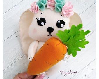 Felt Bunny Rabbit Plush Toy Felt Animals White Rabbit Felt Bunny Doll Easter Ornament Bunny with Carrot Bunny Rabbit Easter Spring Ornaments