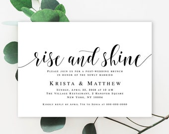 Post wedding brunch invitation Wedding template Editable template Summer wedding ideas Rise and shine Invitation template download #vm31