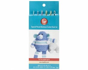 "6pc Set Boye Crochet Hook Set Sizes E-J. 6"" Aluminum Crochet Hooks in Size E, Size F, Size G, Size H, Size I, Size J. 3.5mm-5.75mm S606600"