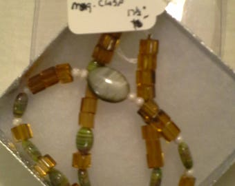 Amber Glass & Stone Necklace