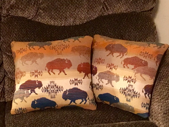Wool Pillow Cover Pair of 2 / Accent Pillow Covers 13 x 15 Running Buffalo