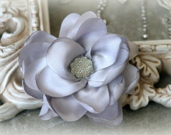 Tresors   Silver Satin Flowers with Decorative Center, for Headbands, Clothing, Sashes, Crafting, 4 inches across, FL-318