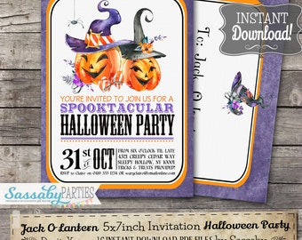Halloween Jack O Lantern Party Invitation - INSTANT DOWNLOAD - Editable & Printable Pumpkin Witch Invitation by Sassaby Parties