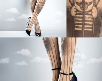 Free Pussy Riot Tattoo Tights nude, printed tights, caged pantyhose, prison, democracy, gay rights cat tattoo socks