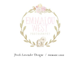 Camera Logo/ Photography Logo/ Custom Logo / Premade Logo / Watercolor Logo Shabby / Chic Logo/ Hand Drawn Logo / Logo for Photographers