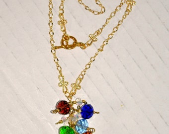 Chakra Pendant Necklace, Glass Faceted Rainbow Bead Cluster Pendant, Gold Finish Dainty Chain, Handmade Jewelry