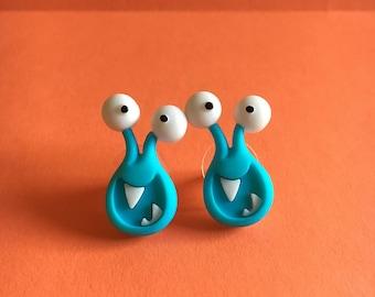 Blue Monster Earrings