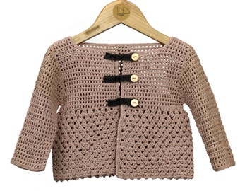 A 100% cotton crocheted baby cardigan