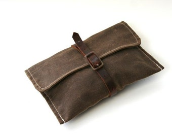 Waxed Canvas Bike Tool Bag Wrap