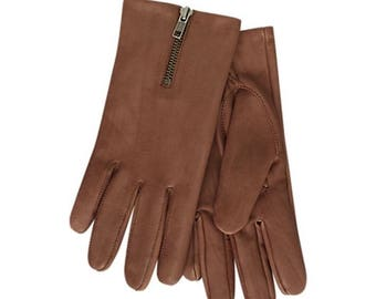 Women's Driving Leather Gloves -  Sheepskin top zip driving gloves
