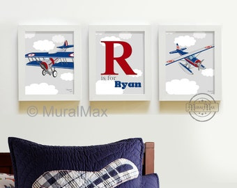 Kids Wall Art - Airplane Nursery Art - Vintage Airplane Art -, Art for Boys,  Boys Nursery art set of three 8 x10