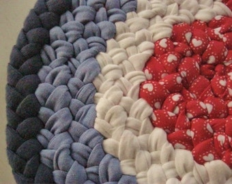 Handmade Nautical Braided Hot Pad from recycled cotton