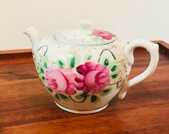 Small Teapot, Hand painted Pink Floral Girl's Teapot, Childs Teapot Japan 1940s