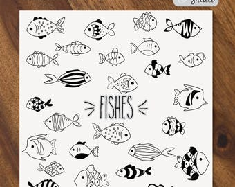 Fishes SVG - 39 Fishes Hand Drawn Vector - Different shape Fishes Digital Art - sketches - clip art illustration - Png, Svg, Dxf, Eps, Pdf