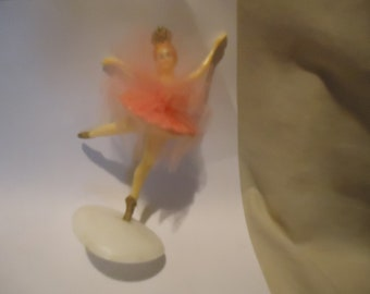 Vintage Novelty Plastic Ballerina With Pink Dress & Crown Cake Topper, Hong Kong, collectable