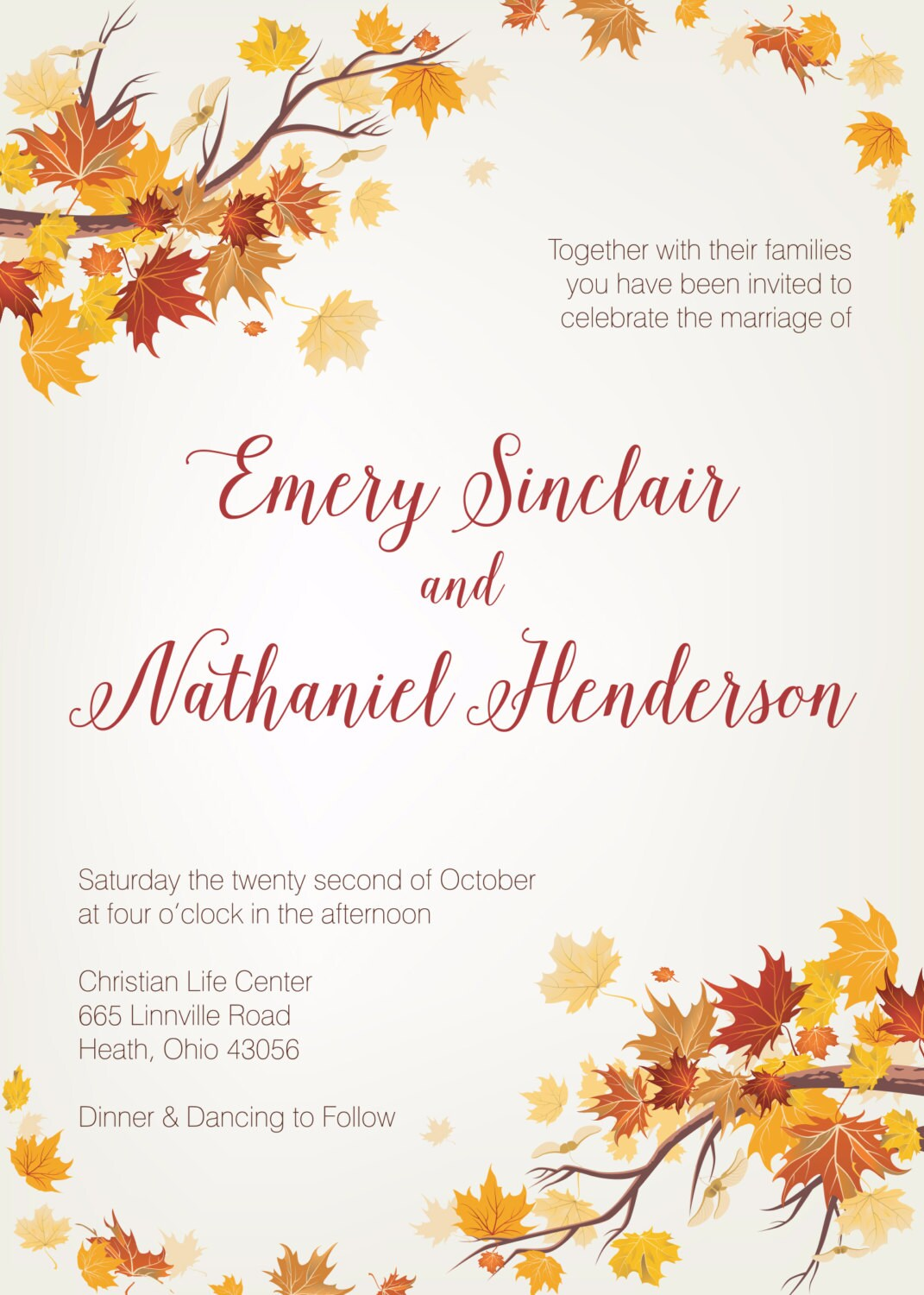 Autumn Wedding Invitation, Fall Wedding Invitation, September ...