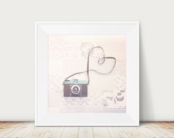vintage camera photograph, camera art, diana camera print, camera heart photograph, gift for photographers, love photography