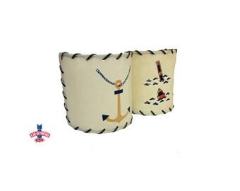Nautical Lamp Shades, Vintage Sconce Lampshade Anchor Lamp Shade, Nautical Decor, Boater Gift, Buoy Lampshade, Beach Decor, Vintage Lighting
