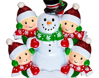 Family Building Snowman Of 4 Personalized Christmas Tree Ornament