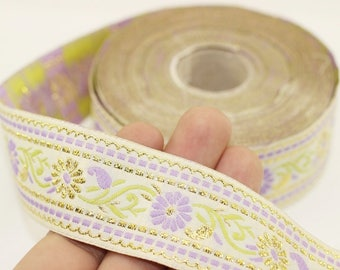 35 mm White & Lilac Floral Jacquard ribbon (1.37 inches), Jacquard trim, Sewing Trim - Collar Trim, Ribbon by the yards, Vintage ribbon