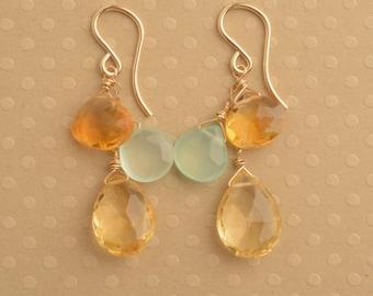 Citrine Earrings, Dangle Earrings, Golden Yellow Earrings, Gemstone Long Dangle Earrings, Gemstone Gold Earrings, November Birthstone