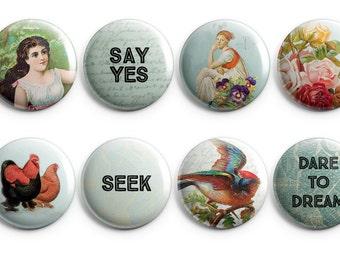 8 Inspirational buttons - original collage art, collage buttons, inspirational fridge magnets